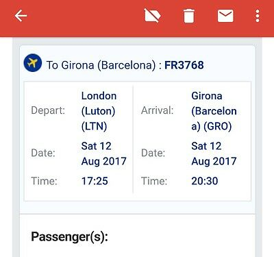 Plane tickets, both ways, London to Girona, date & destination exchangeable