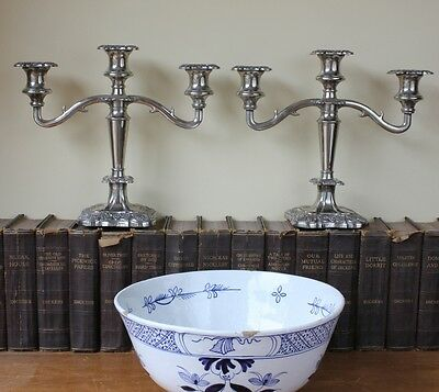 Silver Plated Vintage Candelabra. Old Three Arm Rococo Style Candlesticks