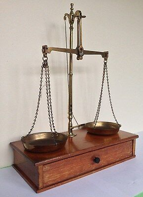 Antique Brass Jewellers Beam Scales Complete With Weights