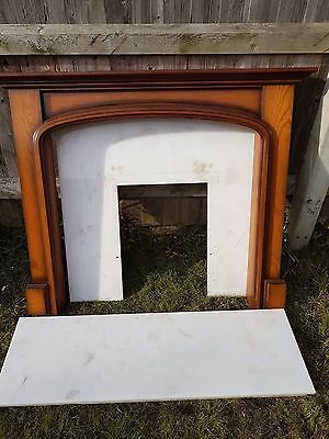 Wooden Fire Surround with Marble heart Marble Back Panel