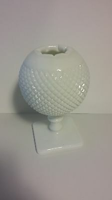 Westmoreland English Hobnail Milkglass rose bowl compote NICE MINTY signed LQQK