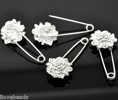 10PCs Silver Plated Flower Safety Pins Brooches Accessories  5.7x2.4cm