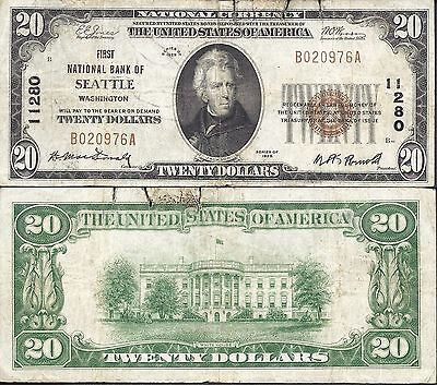 $20 1929-1 NBN=SEATTLE, WA==Ch. 11280= FIRST National Bank Of SEATTLE==Very Fine