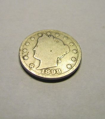 1898 5C Liberty Head Nickel, V Nickel, Five Cents,