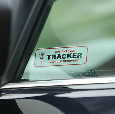 2 x TRACKER FITTED WINDOW STICKERS, GPS ENABLED,VEHICLE, CAR VAN THEFT DETERRENT