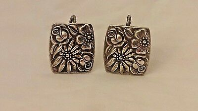 """Vintage 1965 Towle Screw-Back Earrings Silver """"Contessina"""" Rectangular Floral"""