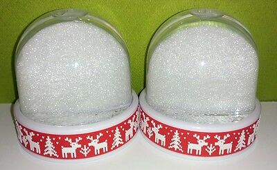 2 Blank Red Reindeer Christmas Tree Snowglobe Snow Domes - MAKE FAMILY GIFTS