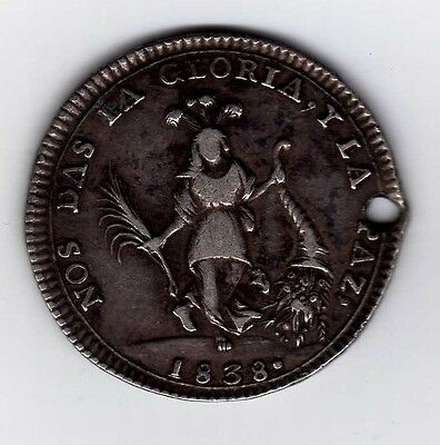 Bolivia proclamation coin: 2 soles 1838; B14A2