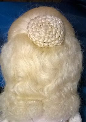 "New Vtg 1987 ""wendy Feidt"" Doll Wig.natural Mohair ""old World Wigs"" Size 11 3/4"""