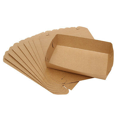 10Pcs Cardboard Open Tray Natural Look Packaging Board for Food Gadgets Storing