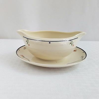 Dual Spout Gravy Boat w/ Attached Underplate ARIANA by Gorham Town & Country USA