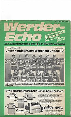 1984 - WERDER BREMEN v WEST HAM UTD PROGRAMME - Friendly