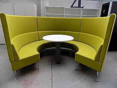 round seating,table,chrome legs,office,restaurant,booth,bar,curved,sectional