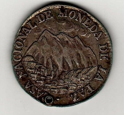 Bolivia proclamation coin: 2 soles 1853; B57A2