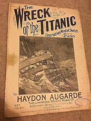 Antique WRECK of the TITANIC Haydon Augarde Pictorial Cover Sheet Music