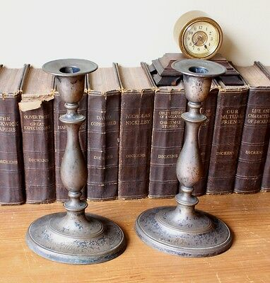 Antique Silver Plated George III Candlesticks. Distressed / Patina. Home Decor