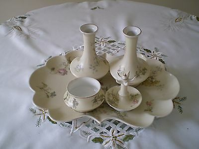 "vintage 5 piece dressing table set porcelain"" limoges"" stamped very pretty"