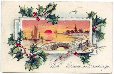 EARLY CHRISTMAS Greetings PC, A Large Bell, Winter Scene at Sunset ...