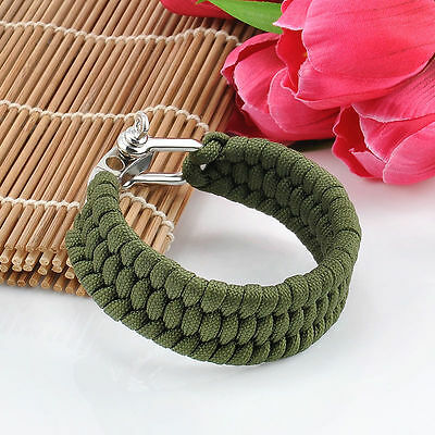 Military Outdoor Camping Hiking Steel Shackle Survival Rope Paracord Bracelet UK