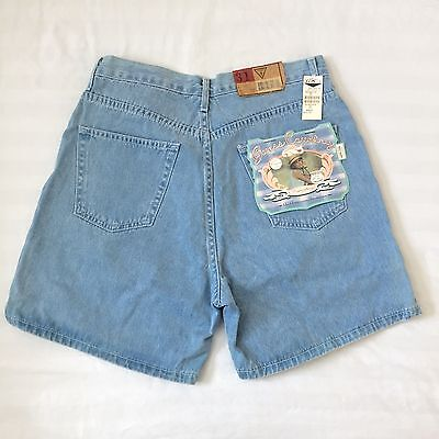 NEW!! Vintage 80s 90s GUESS Light-Blue Denim High-Waist Mom Jeans Shorts Size 31