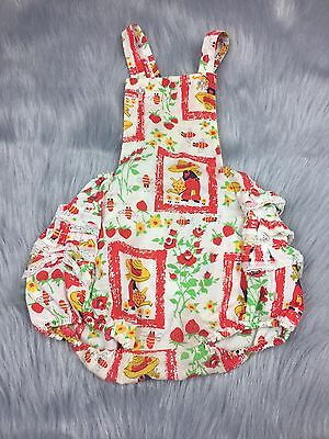 Vintage Baby Toddler Girls Ruffle Sunsuit Romper Strawberry Floral Farmer Print