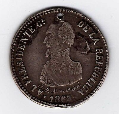 Bolivia proclamation coin: 2 soles, 1863; B88.1