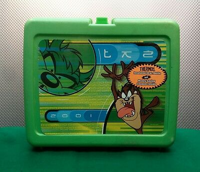 2001 TAZ Green Plastic  Lunch Box  BY THERMOS - NICE SHAPE School Collectible WB