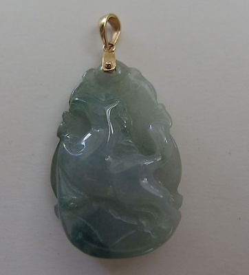 Handcrafted Jade Pendant Chinese  Zodiac Horse Carving Stamped 18k Solid Gold