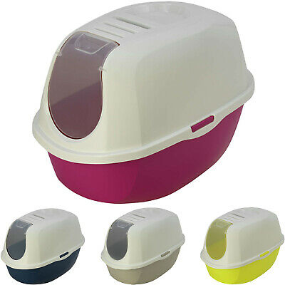 Cat Flip Litter Tray 4 Colours Box Hooded Pan Toilet Loo Charcoal Filter Deep