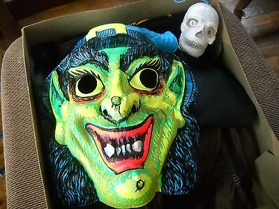 '50s Halco Halloween Witch Mask In Original Box w/ Skeleton Head Toy-Updated!