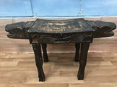 Vintage African Wooden Hand Carved 2 Headed Animal Stool.
