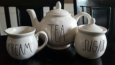 Rae Dunn Teapot Sugar Bowl and Creamer New Shipped With Care!!!