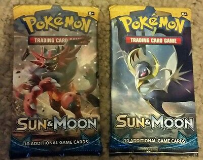 Pokemon cards sun and moon sealed booster pack x2 gx ex tcg