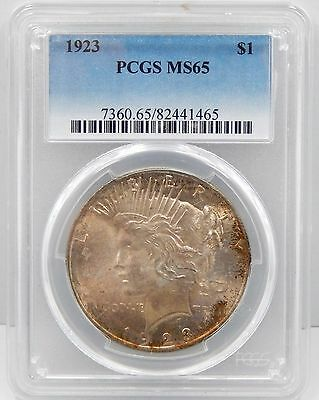 1923 Peace Silver Dollar - PCGS Graded MS65, Toned !!
