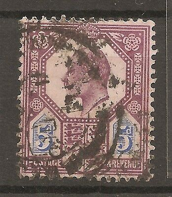UK-GREAT BRITAIN-1902/10 -5 P.-EDWARD VII-VIOLET & BLUE-Y&T nr.113(used stamp)