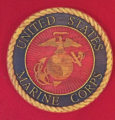 "Marine Corps Plaque Hand Painted Carved in Red Oak Wood 10"" Diameter 3/4"" Thick"