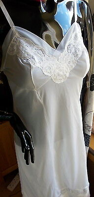 "Vintage Full Slip Petticoat St Michael White See Thru Lace White 34"" Nylon"