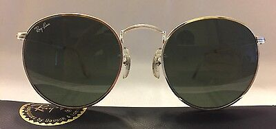 VINTAGE NEW OLD STOCK RAY BAN B&L SUNGLASSES ROUND SILVER AVIATOR 50mm GLASS