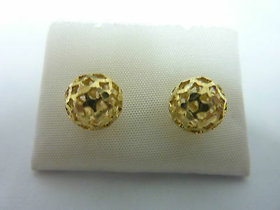 9Ct Yellow Gold 8Mm Filigree Ball Earrings Reduced
