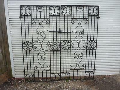 Vintage Pair Wrought Iron Gates Very Fancy