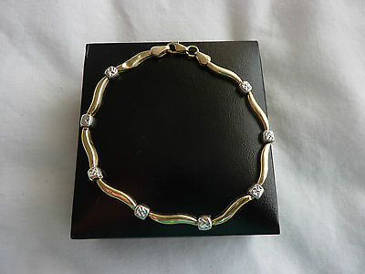 "9CT YELLOW GOLD DIAMOND BRACELET 7"" 3grms"