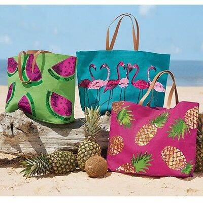 Mud Pie MF7 Women's Fashion Tropical Dazzle Sequin Jute Tote Beach Bag 8613286