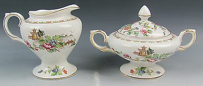 Crown Staffordshire China PAGODA Creamer and Sugar Bowl with Lid EXCELLENT