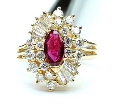 Ladies Marquise Ruby Round and Baguette Diamond Ring 14K Yellow Gold