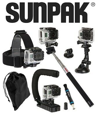Sunpak ® GoPro Accessories Kit Monopod, U-Grip, Head Mount, Suction Cup and MOR