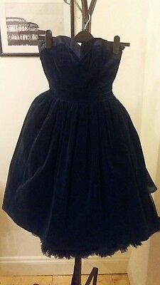 Vintage Laura Ashley Blue Velvet Dress Size 8/10