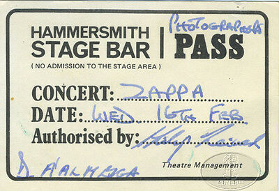 FRANK ZAPPA 1977 UK Tour Backstage Pass Photographer
