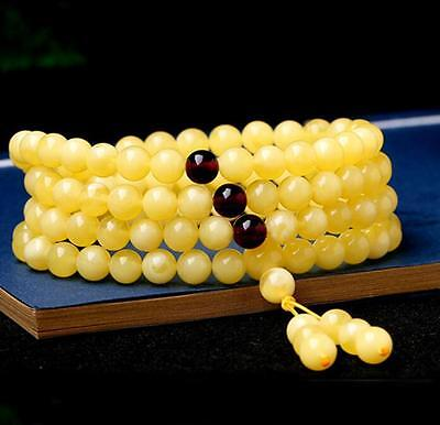 108 Bead Certificat Vintage Natural BALTIC AMBER Beeswax Fashion  Fine Bracelet