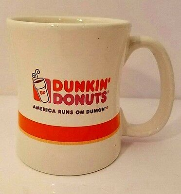 Dunken Donuts Collectible Heavy Coffee Mug White 2008 Logo Double Sided 16 oz.