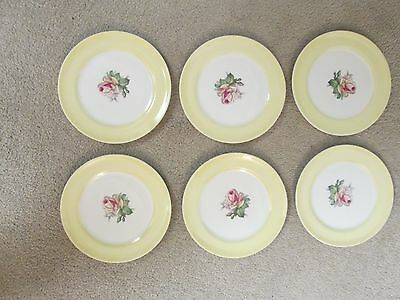 American LIMOGES Tea Rose Cotillion Yellow set of 6 bread & butter plates